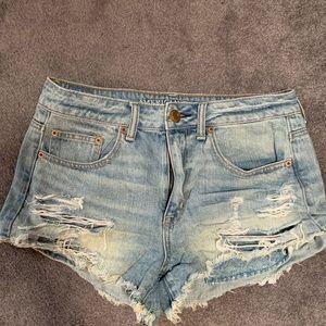 American Eagle Ripped Denim Shorts Size 8